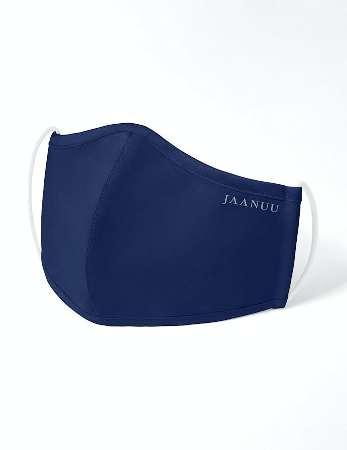 """<p>jaanuu.com</p><p><strong>$25.00</strong></p><p><a href=""""https://www.jaanuu.com/products/reusable-face-mask/estate-blue/os?size_type=regular&mask_size=adult&mask_type=standard"""" rel=""""nofollow noopener"""" target=""""_blank"""" data-ylk=""""slk:Shop Now"""" class=""""link rapid-noclick-resp"""">Shop Now</a></p><p>Like Jaanuu's popular antimicrobial scrubs, these moisture-wicking face masks feature a polyester, rayon, and spandex blend that's ideal for all-day wear. They also cover the lower half of the face without gapping, offering <strong>a safer fit than the competition</strong>.</p>"""