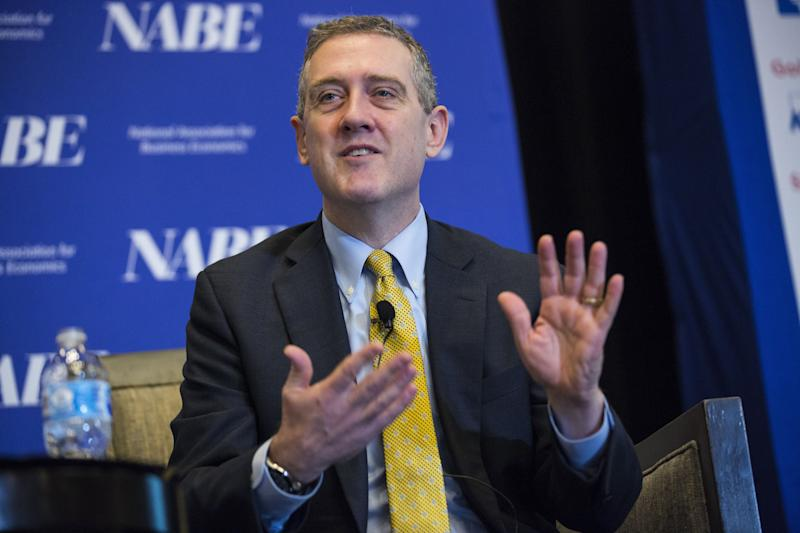 James Bullard, president and chief executive officer at the Federal Reserve Bank of St. Louis, speaks during the National Association of Business Economics' (NABE) Economic Policy Conference in Washington, D.C., U.S. on Monday, Feb. 26, 2018. Recent stock selloff was relatively benign and didn't seem to be related to U.S. growth prospects, Bullard said. Photographer: Joshua Roberts/Bloomberg via Getty Images