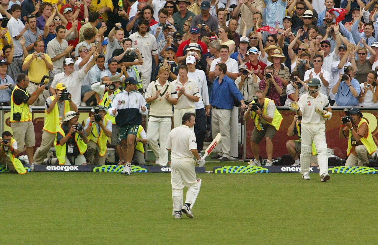 SYDNEY, AUSTRALIA - JANUARY 6:  Steve Waugh of Australia leaves the ground after being dismissed during day five of the 4th Test between Australia and India at the SCG on January 6, 2004 in Sydney, Australia. (Photo by Nick Laham/Getty Images)