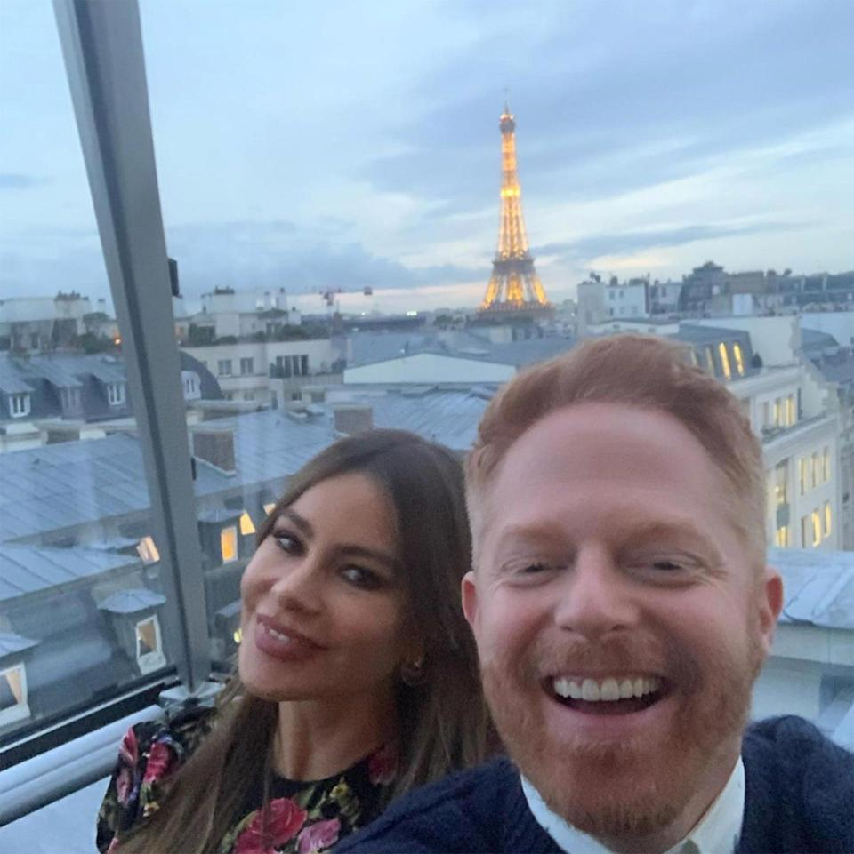 """<p><strong>Location:</strong> Paris, France</p> <p>The City of Love was the international home base of the cast of <em>Modern Family</em> while they were in town filming a special Valentine's Day episode for the show's final season. In between shoots, the stars — including Sofia Vergara, Jesse Tyler Ferguson, Sarah Hyland and their significant others — did some sight-seeing and enjoyed sweet Parisian treats, ending their days at <a href=""""https://www.peninsula.com/en/paris/luxury-hotel-room-suite-types"""" rel=""""nofollow noopener"""" target=""""_blank"""" data-ylk=""""slk:The Peninsula Paris"""" class=""""link rapid-noclick-resp"""">The Peninsula Paris</a> hotel.</p>"""