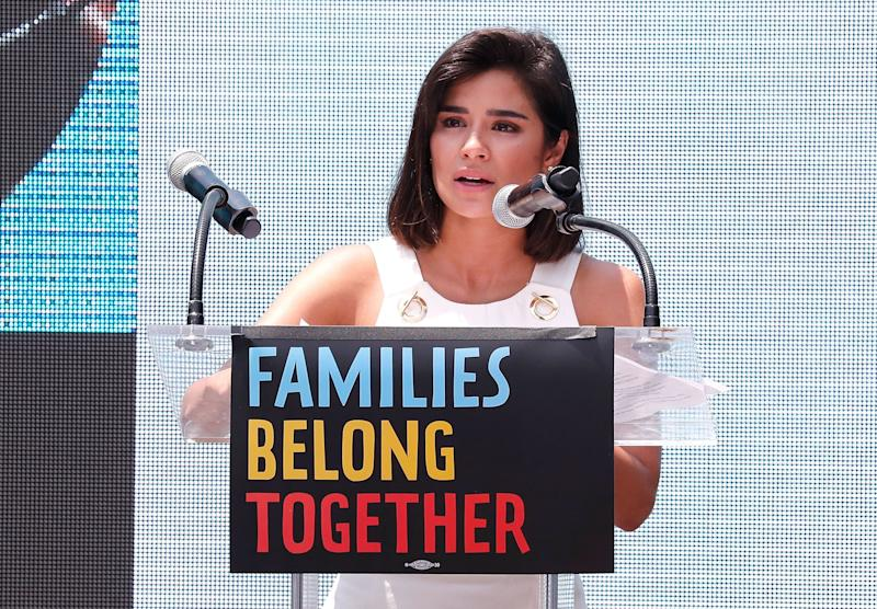 WASHINGTON, DC - JUNE 30: Actor Diane Guerrero speaks atFamilies Belong Together Rally In Washington DC Sponsored By MoveOn, National Domestic Workers Alliance, And Hundreds Of Allies. (Photo: Paul Morigi via Getty Images)