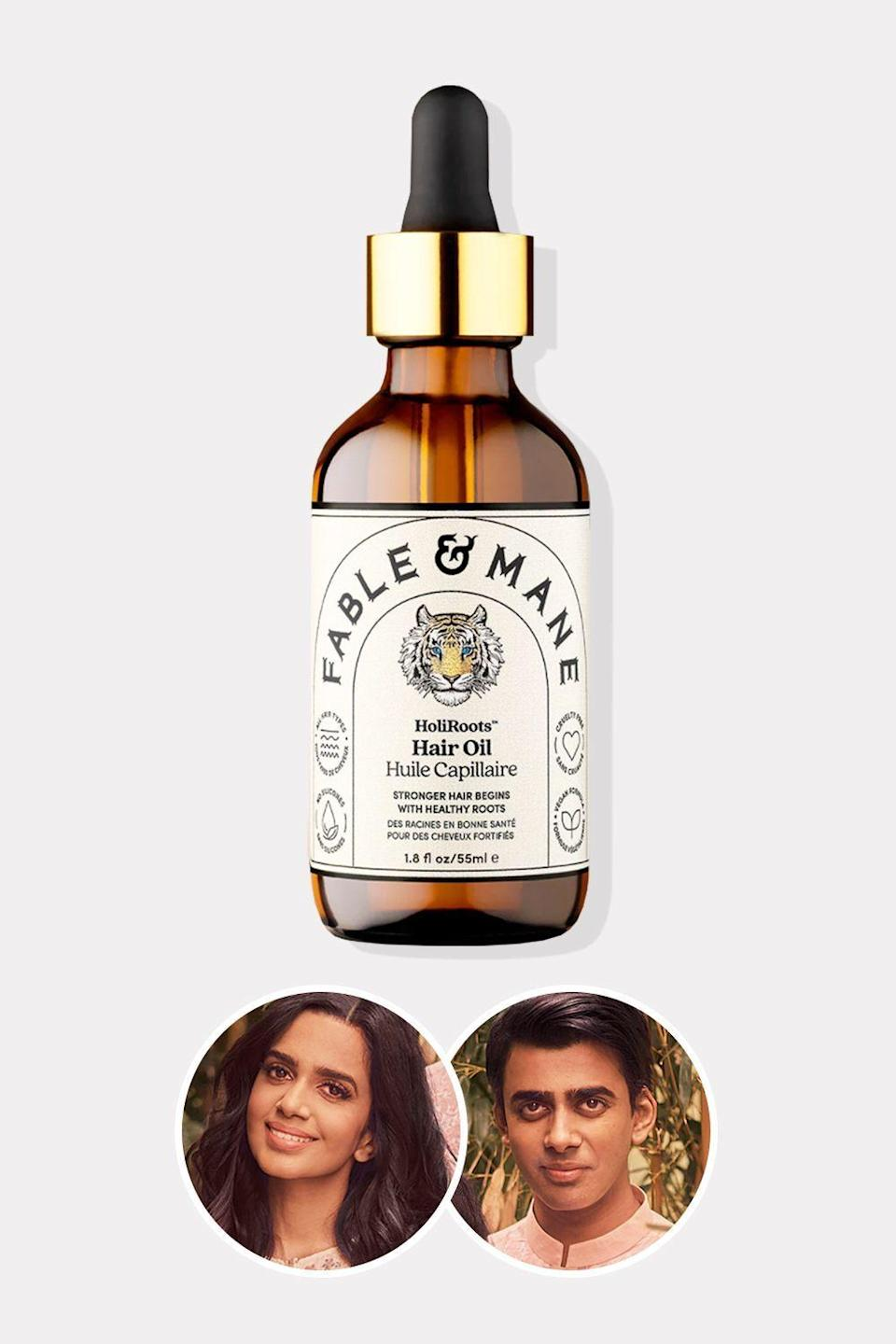 """<p><strong>Fable & Mane</strong></p><p>fableandmane.com</p><p><strong>£29.00</strong></p><p><a href=""""https://fableandmane.com/shop/holiroots-hair-oil/"""" rel=""""nofollow noopener"""" target=""""_blank"""" data-ylk=""""slk:Shop Now"""" class=""""link rapid-noclick-resp"""">Shop Now</a></p><p>Fable & Mane is a love letter to the Indian tradition of hair oiling. Co-founder Nikita Mehta remembers her grandmother massaging her hair with a mixture of healing plant oils to increase its shine and strength. This product is a direct descendent of that ritual, with Ashwagandha, castor oil, and Dashmool, a combination of ten different plant extracts that nurture the scalp to increase the health of your strands.</p>"""