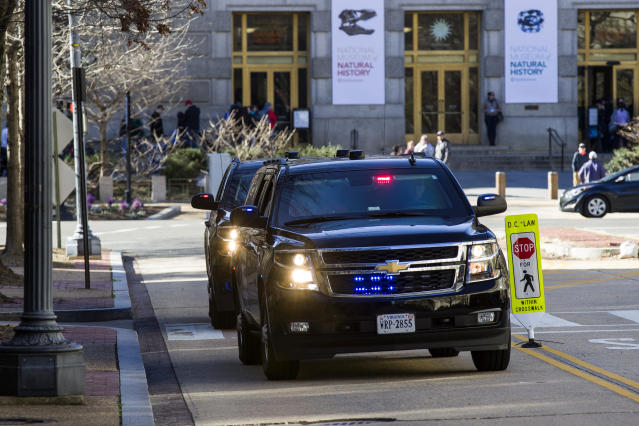 The motorcade for Attorney General William Barr arrives at the Department of Justice, Saturday, March 23, 2019, in Washington. (AP Photo/Alex Brandon)