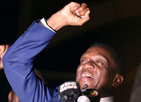 Zimbabwe's former vice president Emmerson Mnangagwa, who is due to be sworn in to replace Robert Mugabe as President, addresses supporters in Harare, Zimbabwe, November 22, 2017. REUTERS/Philimon Bulawayo