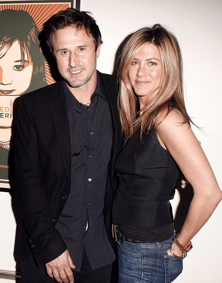 "One of the perks Jennifer Aniston enjoys about being ""Friends"" with Courteney Cox? Spending plenty of QT with her hilarious hubby, ""Scream"" actor David Arquette. Jeff Vespa/<a href=""http://www.wireimage.com"" target=""new"">WireImage.com</a> - January 9, 2009"