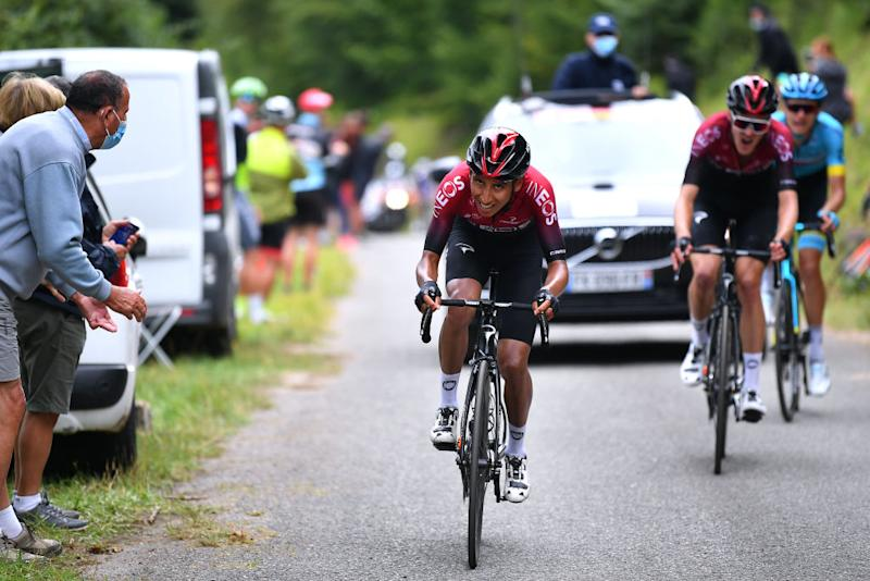 SARRANCOLIN FRANCE AUGUST 03 Egan Bernal of Colombia and Team Ineos Pavel Sivakov of Russia and Team Ineos Aleksandr Vlasov of Russia and Astana Pro Team during the 44th La Route dOccitanie La Depeche du Midi 2020 Stage 3 a 1635km stage from Saint Gaudens to Col de Beyrde 1417m RouteOccitanie RDO2020 on August 03 2020 in Sarrancolin France Photo by Justin SetterfieldGetty Images