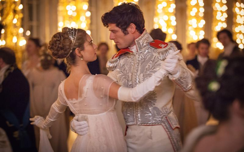 Lily james and James Norton in the BBC's War and Peace - WARNING: Use of this copyright image is subject to the terms of use of BBC Pictures' Digital Picture Service (BBC Pictures) as set out at www.bbcpictures.co.uk. In particular, this image may only be published by a registered User of BBC Pictures for editorial use for the purpose of publicising the relevant BBC programme, personnel or activity during the Publicity Period which ends three review weeks following the date of transmission and provided the BBC and the copyright holder in the caption are credited. For any other purpose whatsoever, including advertising and commercial, prior written approval from the copyright holder will be required.