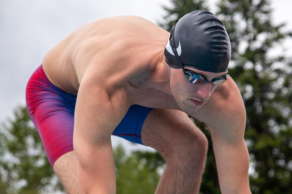 Nike Swim's R/W/B Crew Collection will have you feeling like a professional competing in Tokyo. (Photo by Nike)