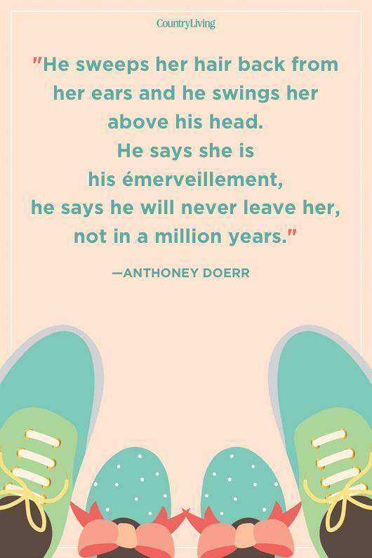 """<p>""""He sweeps her hair back from her ears and he swings her above his head. He says she is his émerveillement, he says he will never leave her, not in a million years.""""</p>"""