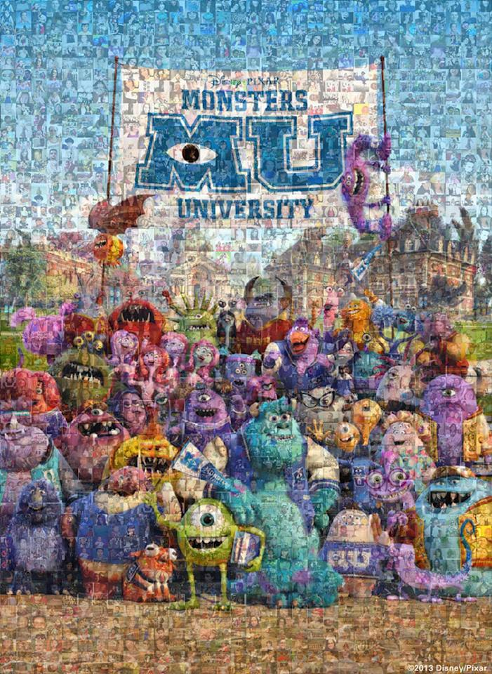 "#ThrowbackThursday photos sent in from fans were compiled to create this mosiac poster for Disney/Pixar's ""Monsters University"" - 2013"