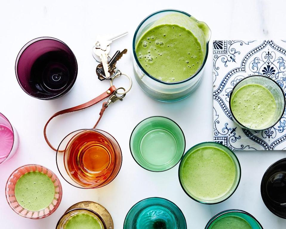 """A vegan's delight, with a gentle bonus buzz from the matcha. <a href=""""https://www.bonappetit.com/recipe/the-greenest-smoothie?mbid=synd_yahoo_rss"""" rel=""""nofollow noopener"""" target=""""_blank"""" data-ylk=""""slk:See recipe."""" class=""""link rapid-noclick-resp"""">See recipe.</a>"""