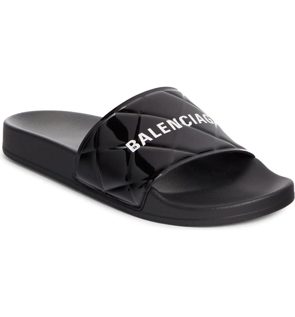 <p>Staying at home with these <span>Balenciaga Patent Leather Slide Sandal</span> ($350) will feel a lot more luxe.</p>