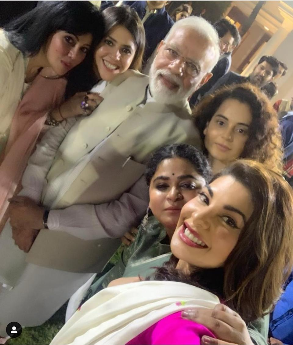 Jacqueline should be given an award for sharing the best clicks from every party she walks into - take this one for instance. The PM, surrounded by TV Mogul, Ekta Kapoor, the boldest of them all, Kangana Ranaut, and the gorgeous Sri Lankan diva made round of the internet. The popularity of this click was not limited to Instagram, but had taken over other platforms like Facebook, and Twitter also.