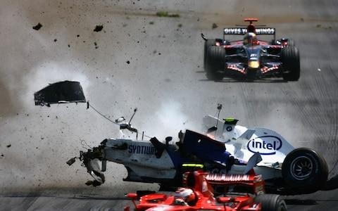 Canadian Formula One Grand Prix...MONTREAL, QC - JUNE 10: Robert Kubica of Poland and BMW-Sauber crashes during the Canadian Formula One Grand Prix at the Circuit Gilles Villeneuve on June 10, 2007 in Montreal, Canada - Credit: Getty Images
