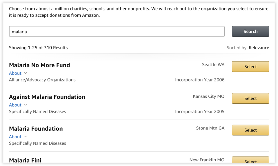 You can search over a million charities.
