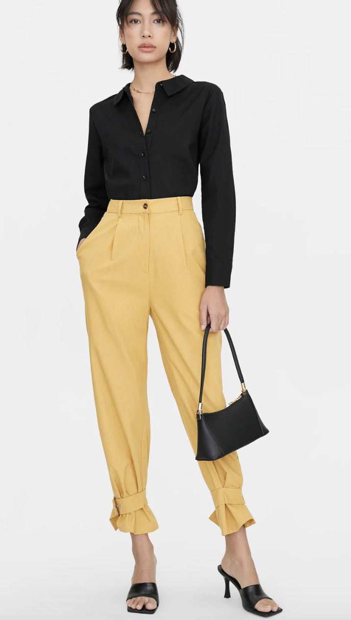 PHOTO: Pomelo. Squared Buckle Ankle Pants, White