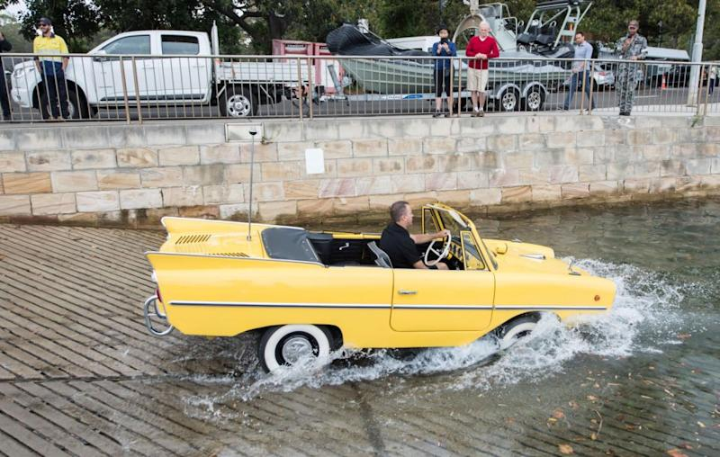 This 1966 Amphicar 770 can transition from land to water with a simple change of gear that starts the propellers on the back. Source: Getty