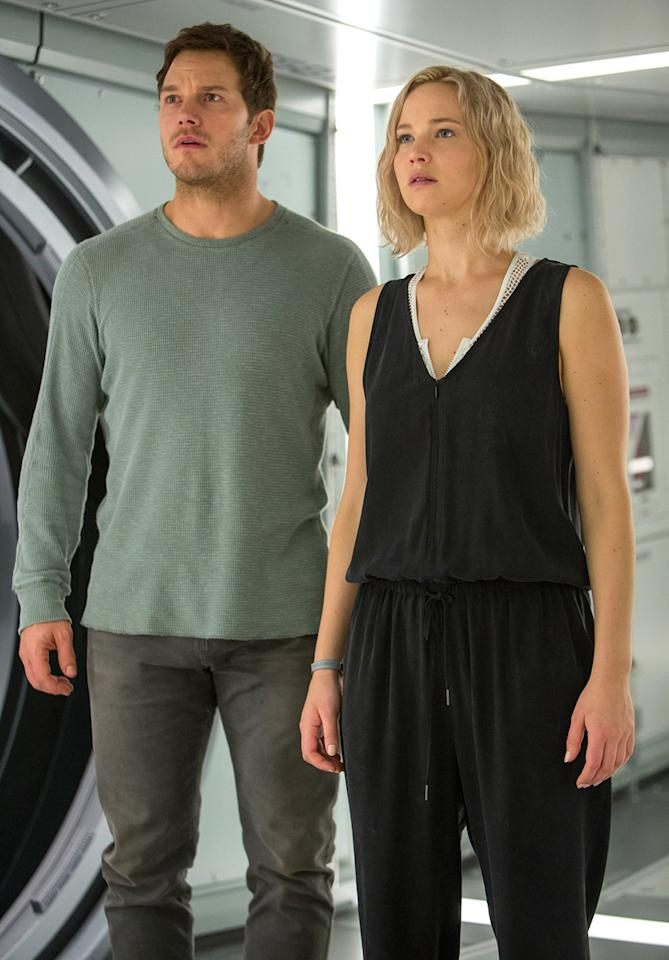 <p>Pratt's character Jim and Lawrence's character Aurora are on a luxury spaceship bound for a new colony when they're awakened prematurely from suspended animation. (Photo: Columbia Pictures) </p>