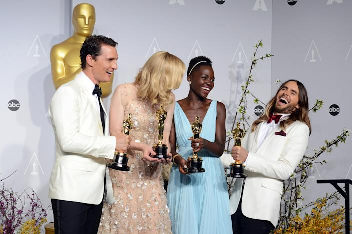"""Matthew McConaughey, from left, holds his award for best actor for his role in """"Dallas Buyers Club"""", Cate Blanchett holds her award for best actress in """"Blue Jasmine"""", Lupita Nyong'o holds her award for best supporting actress for """"12 Years a Slave,"""" and Jared Leto holds his award for best supporting actor in """"Dallas Buyers Club"""" in the press room during the Oscars at the Dolby Theatre on Sunday, March 2, 2014, in Los Angeles. (Photo by Jordan Strauss/Invision/AP)"""