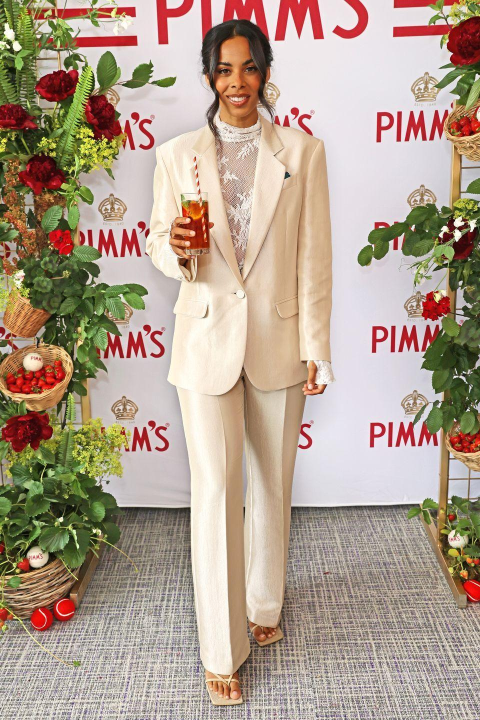 <p>Rochelle Humes dressed in a cream-coloured suit and lace top for the event. </p>