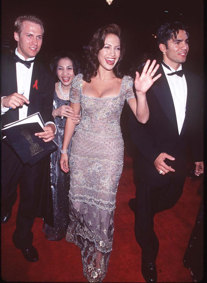 <p>Lopez arrived at the 69th Annual Academy Awards with high-shine, side-swept curls.</p>