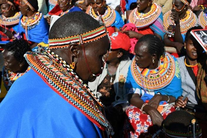 Women from Maralal in northern Kenya attended the funeral (AFP Photo/SIMON MAINA)