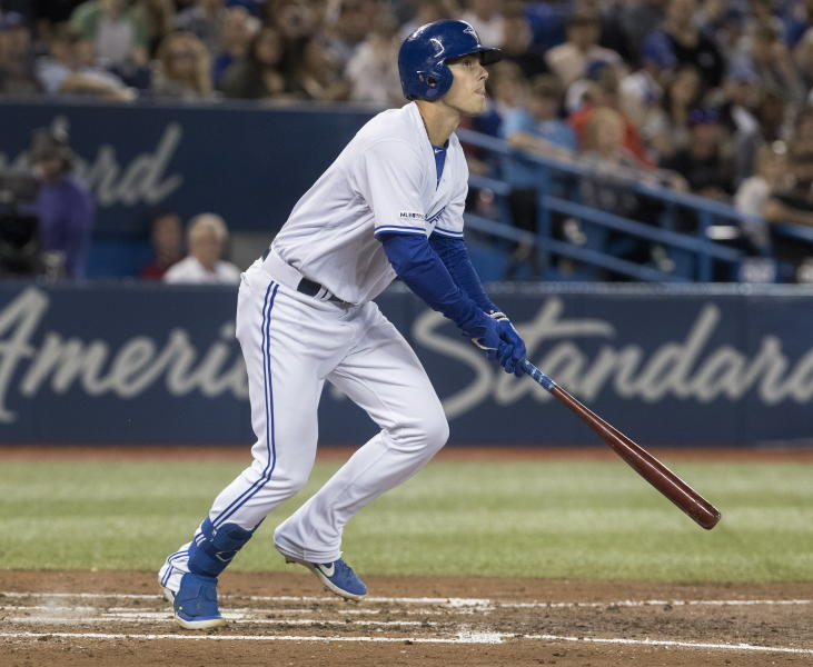 Toronto Blue Jays' Cavan Biggio bats against the San Diego Padres during the fifth inning of a baseball game Friday, May 24, 2019, in Toronto. Biggio struck out. (Fred Thornhill/The Canadian Press via AP)