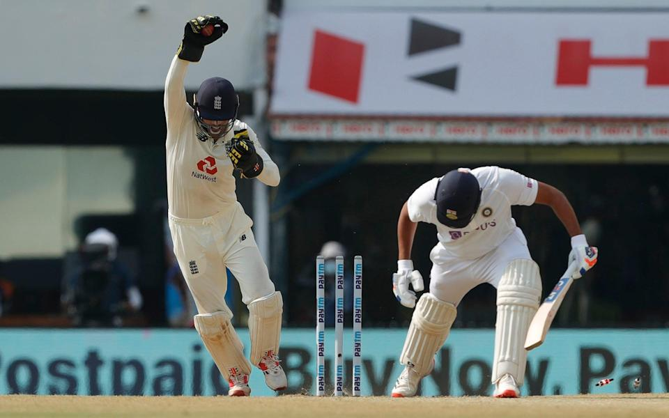 Rohit Sharma is stumped by Ben Foakes during the second Test - SA[i]KAT
