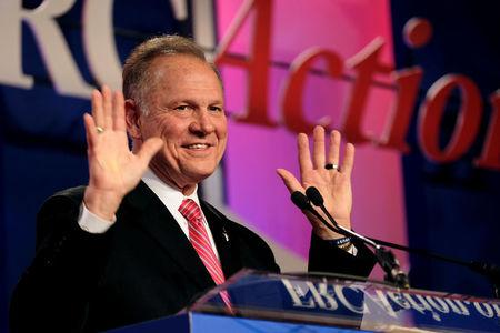 FILE PHOTO: Former Alabama Supreme Court Chief Justice Roy Moore speaks at the Values Voter Summit of the Family Research Council in Washington, DC, U.S. October 13, 2017. REUTERS/James Lawler Duggan/File Photo