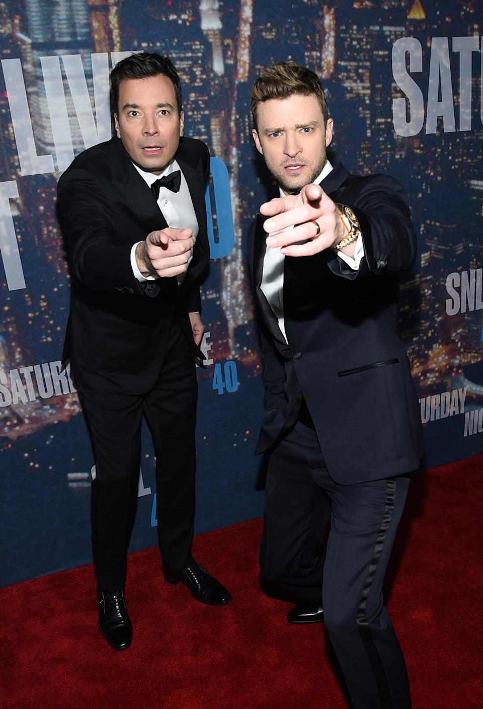 Jimmy Fallon and Justin Timberlake show off their bromance on the red carpet in sharp suits.