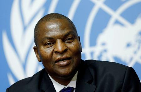 FILE PHOTO: Faustin-Archange Touadera, President of the Central African Republic, addresses a news conference at the Untied Nations in Geneva, Switzerland September 27, 2017.  REUTERS/Denis Balibouse/File Photo