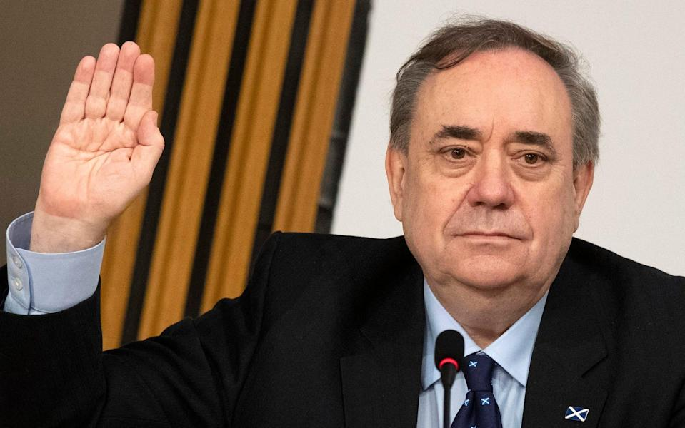Alex Salmond is sworn in before giving evidence to a Scottish Parliament Harassment committee - Andy Buchanan/PA