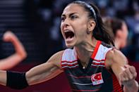 <p>Turkey's Simge Akoz reacts after a point in the women's quarter-final volleyball match between South Korea and Turkey during the Tokyo 2020 Olympic Games at Ariake Arena in Tokyo on August 4, 2021. (Photo by PEDRO PARDO / AFP)</p>