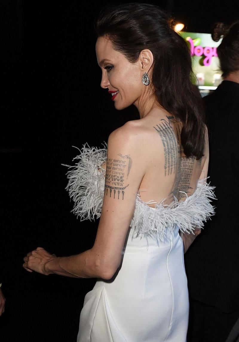 The actress showed off her tattoos. Source: Getty