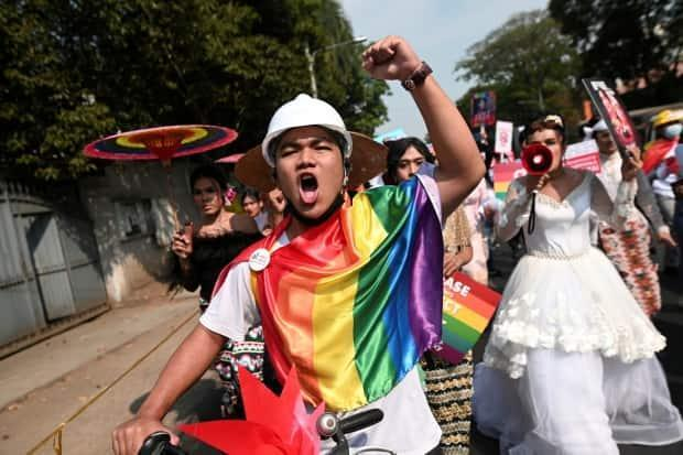 Members of the LGBTQ community protest against the military coup in Yangon, Myanmar, on Friday. A wide swathe of Myanmar's civilian population is protesting the coup, something the military generals may not have planned for.