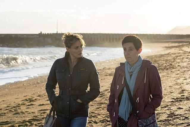Sarah Parish as Cath Atwood and Julie Hesmondhalgh as Trish Winterman in 'Broadchurch' (Photo: Colin Hutton/BBC America)
