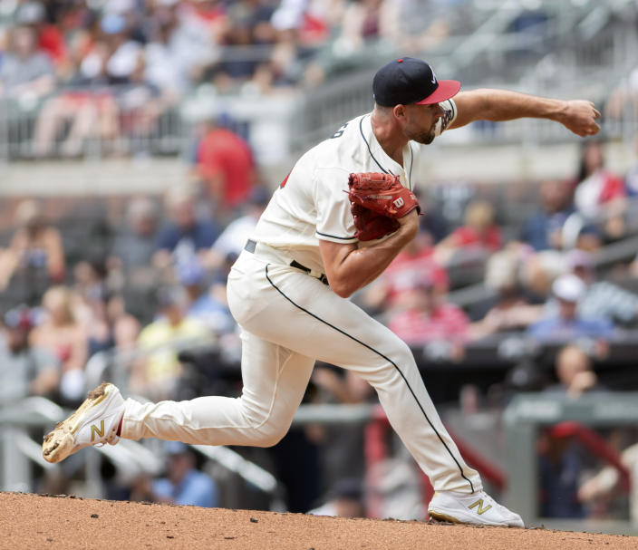 Atlanta Braves pitcher Kyle Muller throws against against the San Diego Padres in the first inning of a baseball game in Atlanta, Wednesday, July 21, 2021. (AP Photo/Hakim Wright Sr.)