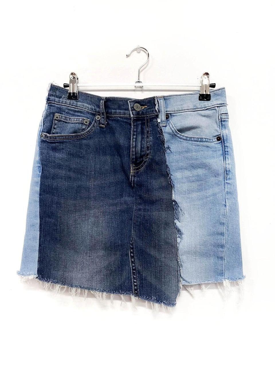 "<p>We love the two-tone design of this <a href=""https://www.popsugar.com/buy/Grant-Blvd-Distressed-Jean-Skirt-582016?p_name=Grant%20Blvd%20Distressed%20Jean%20Skirt&retailer=grantblvd.com&pid=582016&price=68&evar1=fab%3Aus&evar9=35329485&evar98=https%3A%2F%2Fwww.popsugar.com%2Ffashion%2Fphoto-gallery%2F35329485%2Fimage%2F47550222%2FGrant-Blvd-Distressed-Jean-Skirt&list1=shopping%2Cdenim%2Csummer%20fashion%2Cfashion%20shopping&prop13=mobile&pdata=1"" class=""link rapid-noclick-resp"" rel=""nofollow noopener"" target=""_blank"" data-ylk=""slk:Grant Blvd Distressed Jean Skirt"">Grant Blvd Distressed Jean Skirt</a> ($68).</p>"