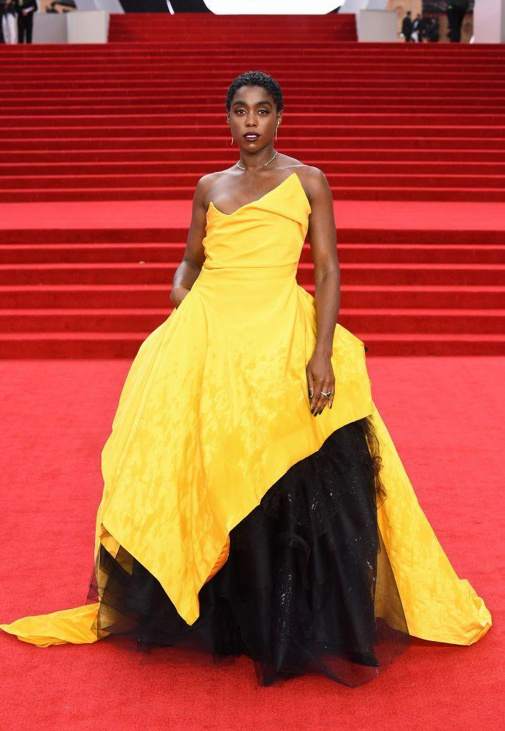 <p>Lynch chose a striking yellow and black Vivienne Westwood gown paired with Ara Vartanian jewellery for the evening. </p>