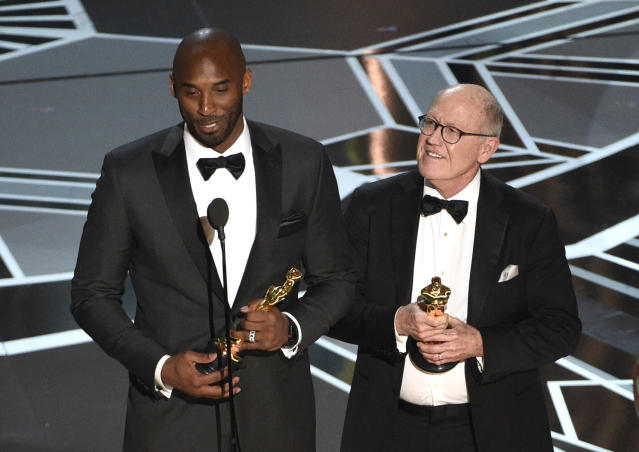 Kobe Bryant is now an Oscar winner. (AP Photo)