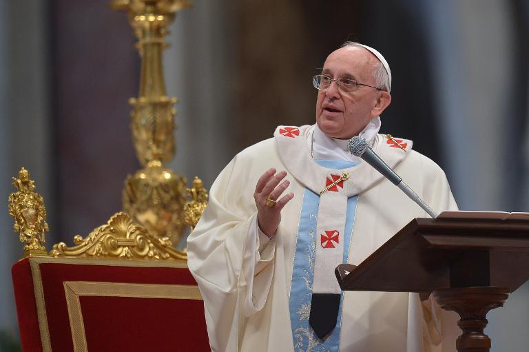 Pope Francis leads a mass at St Peter's Basilica at the Vatican on January 1, 2014