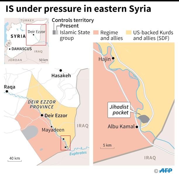 Map showing territorial control in eastern Syria as of February 8 (AFP Photo/)