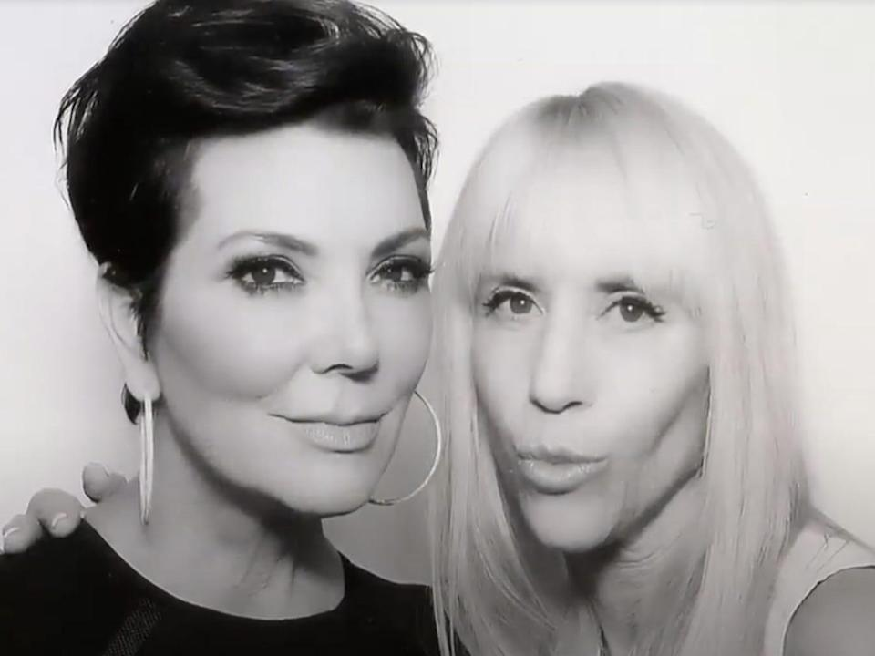 A close up of Kris Jenner and Lisa Stanley's faces. They look at the camera together.