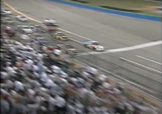Terry Labonte edges Joe Nemechek by .002 seconds to win the Xfinity race at Talladega on April 24, 1999 (Screenshot).