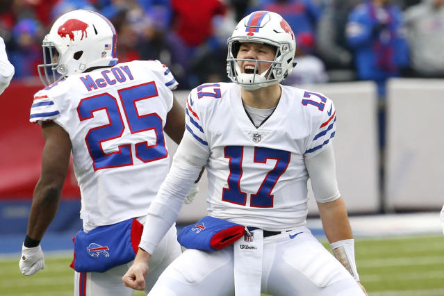 Josh Allen has been a carnival ride in fantasy, and he's surging lately. (AP Photo/Jeffrey T. Barnes)