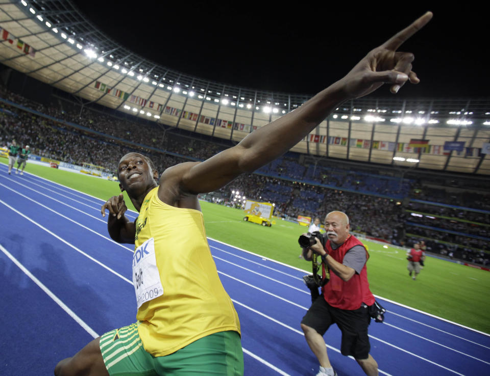 Bolt celebrated in trademark fashion after setting the world record. (Reuters)