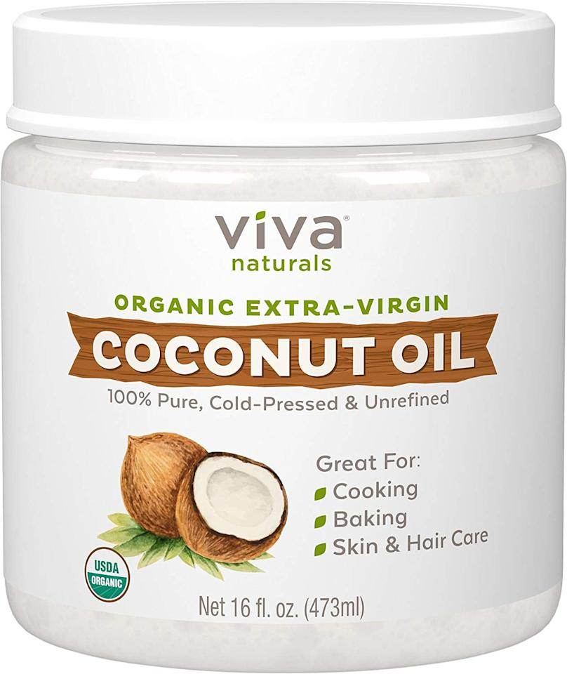 """<p>Coconut oil - like <a href=""""https://www.popsugar.com/buy/Viva-Naturals-Organic-Extra-Virgin-Coconut-Oil-547644?p_name=Viva%20Naturals%20Organic%20Extra%20Virgin%20Coconut%20Oil&retailer=amazon.com&pid=547644&price=13&evar1=bella%3Aus&evar9=47191137&evar98=https%3A%2F%2Fwww.popsugar.com%2Fbeauty%2Fphoto-gallery%2F47191137%2Fimage%2F47191139%2FViva-Naturals-Organic-Extra-Virgin-Coconut-Oil&list1=hair%20care&prop13=mobile&pdata=1"""" rel=""""nofollow"""" data-shoppable-link=""""1"""" target=""""_blank"""" class=""""ga-track"""" data-ga-category=""""Related"""" data-ga-label=""""https://www.amazon.com/Viva-Naturals-Organic-Virgin-Coconut/dp/B00DS842HS/"""" data-ga-action=""""In-Line Links"""">Viva Naturals Organic Extra Virgin Coconut Oil</a> ($13) - is one of the most common moisturizing oils because it helps smooth frizz and promotes stronger, healthier hair growth.</p>"""