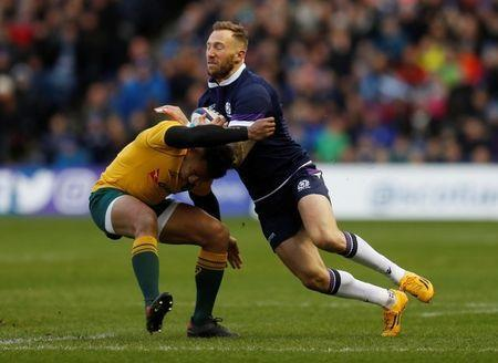 FILE PHOTO: Rugby Union - Autumn Internationals - Scotland vs Australia - BT Murrayfield, Edinburgh, Britain - November 25, 2017 Scotland's Byron McGuigan in action REUTERS/Russell Cheyne