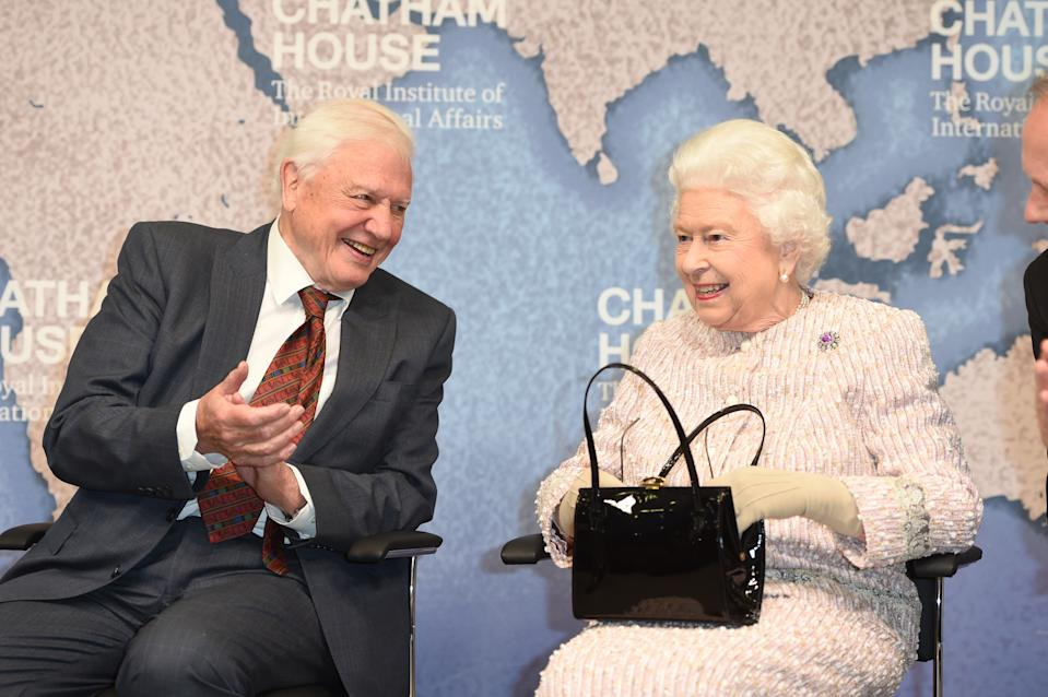 Queen Elizabeth II presented the Chatham House Prize 2019 to Sir David Attenborough at the Royal institute of International Affairs. The pair look comfortable in each other's company. (PA Images)