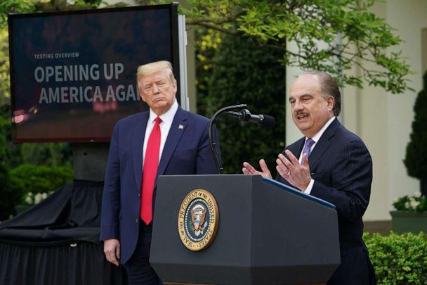 PHOTO: CVS CEO Larry Merlo speaks during a news conference with President Donald Trump on the novel coronavirus in the Rose Garden of the White House in Washington, D.C., on April 27, 2020. (Mandel Ngan/AFP via Getty Images)